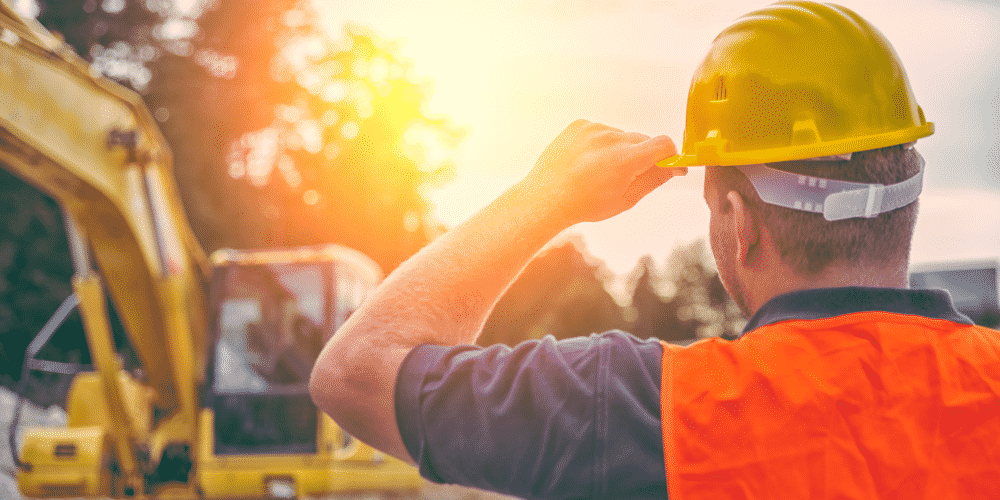Construction contractor wearing a hard hat