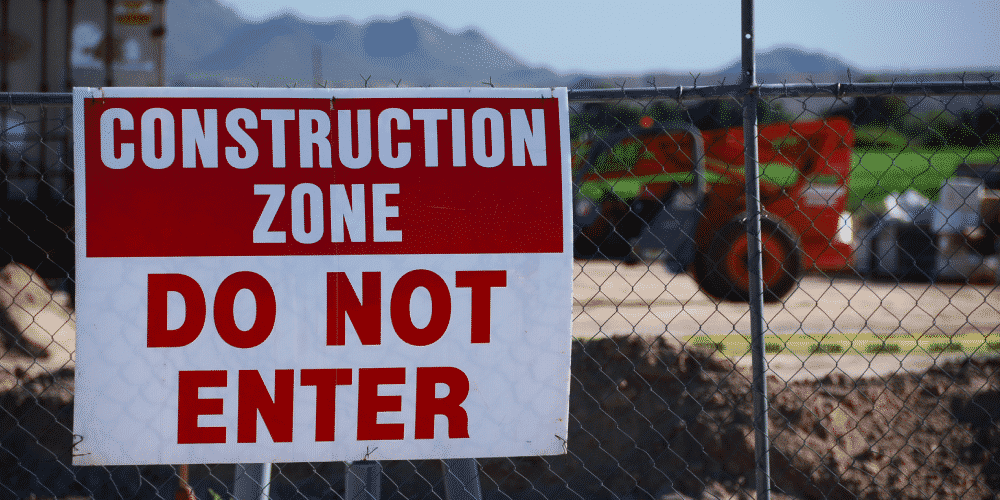 Construction zone with potential environmental hazards