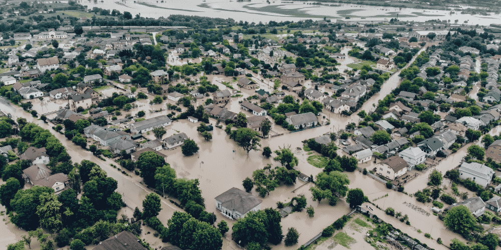 Natural catastrophe flooded town