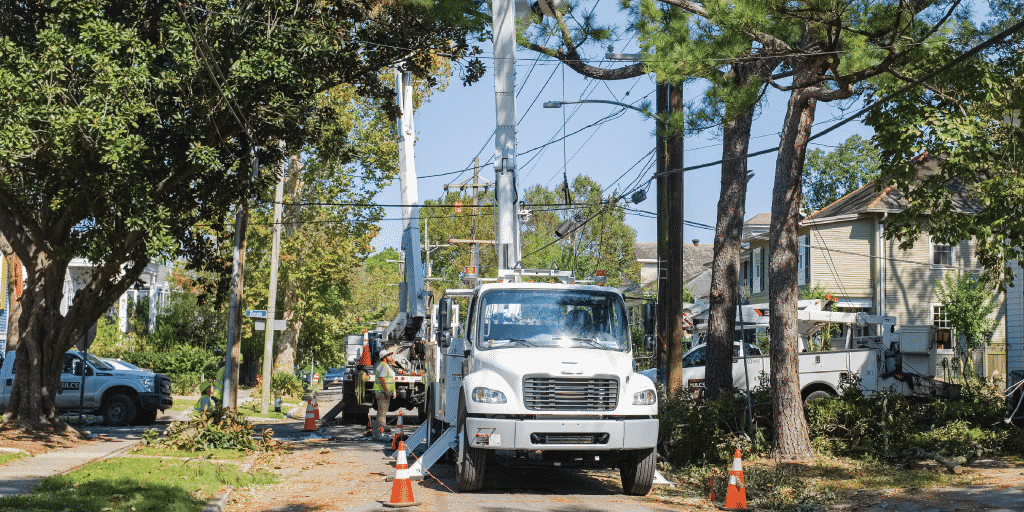 Tree service professionals practicing work zone safety