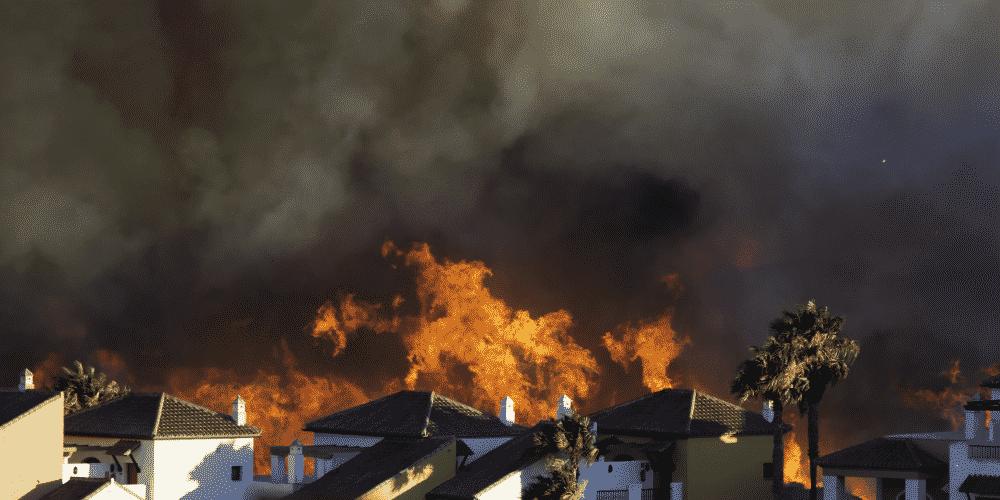 Fire in residential neighborhood