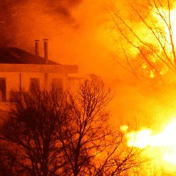 House burning as a result of improper fire prevention